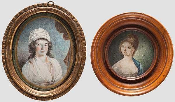 Zwei Portrait-Miniaturen, französisch, Ende 18. Jhdt.