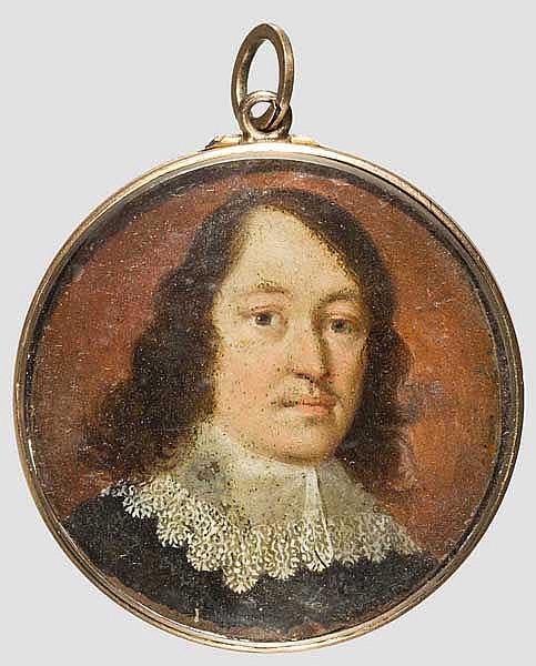Anhänger mit Portrait-Miniatur eines Adeligen, 17. Jhdt.