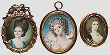 Drei Portrait-Miniaturen, 18. Jhdt.