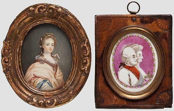 Zwei Miniaturen, Frankreich, 18. Jhdt.