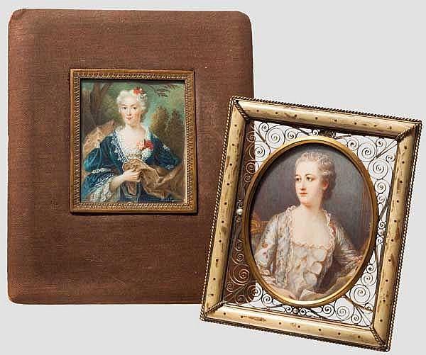 Zwei Portrait-Miniaturen, Ende 18. Jhdt.