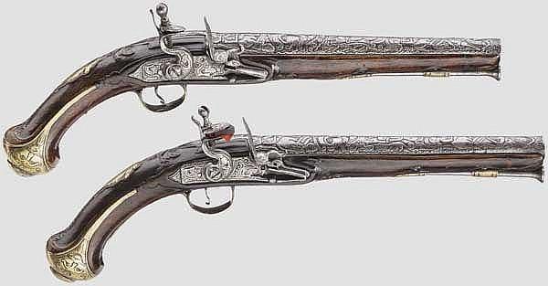 Ein Paar Steinschlosspistolen, balkantürkisch, 19. Jhdt.