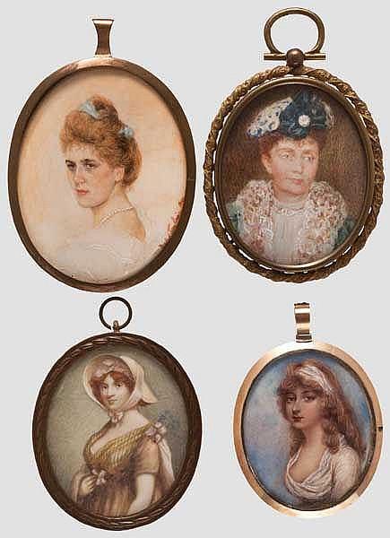 Vier Portrait-Miniaturen, deutsch/italienisch um 1900