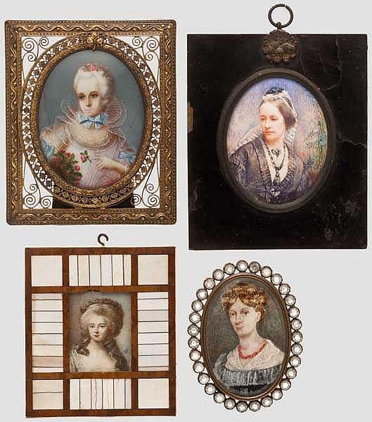 Vier Miniatur-Portraits, 19./20. Jhdt.