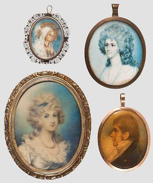 Vier Portrait-Miniaturen, 19. Jhdt.