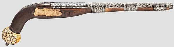 Silberbezogener Lauf und Beschläge einer Miqueletpistole, Kaukasus, datiert 1848