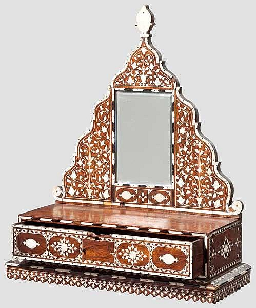 An Indian vanity chest with integrated mirror, 19th century
