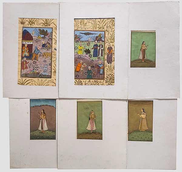 Sechs indo-persische Miniaturen, 19. Jhdt.