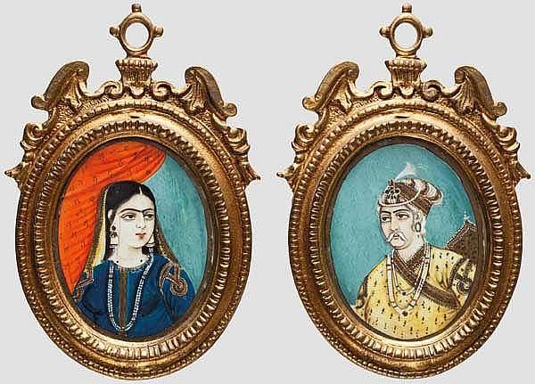 Ein Paar Miniaturen, Indien, 20. Jhdt.