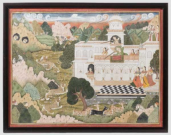 Großformatige Miniatur, Indien, Kotah, 19. Jhdt.