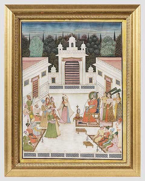 Großformatige Miniatur, Indien, Jaipur, 19. Jhdt.