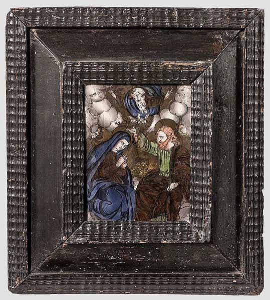 Frühes Hinterglasbild, deutsch, 1. Hälfte 17. Jhdt.