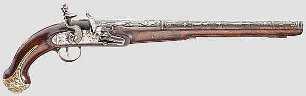 Silbertauschierte Steinschlosspistole, osmanisch, 19. Jhdt.