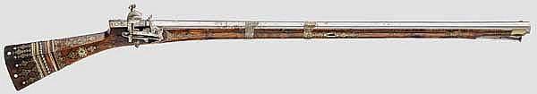 Silbereingelegte Miqueletbüchse, osmanisch, 1. Hälfte 18. Jhdt.