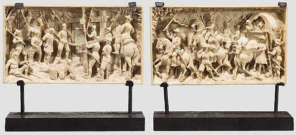 Ein Paar geschnitzter Elfenbein-Miniaturen mit Szenen des 30-jährigen Krieges, Dieppe um 1880
