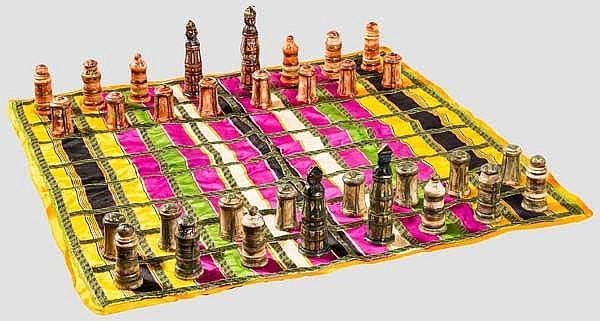 Schachspiel aus Bein mit Spieltuch, Chittorgarh, Rajasthan, datiert 1871