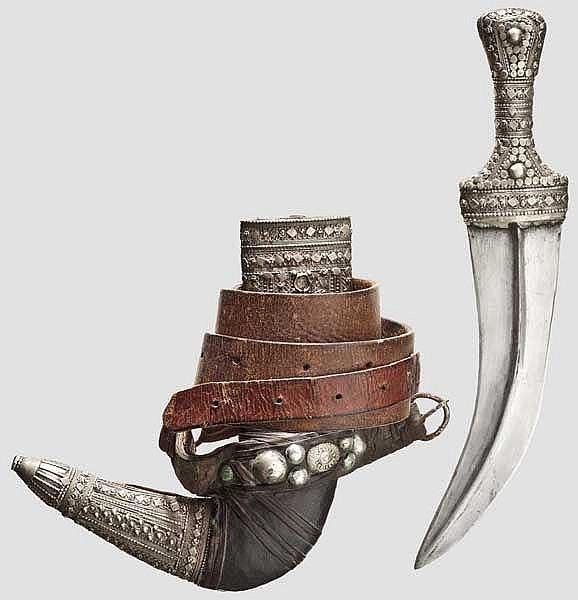 Silbermontierte Djambia, Saudi-Arabien, 1. Hälfte 20. Jhdt.