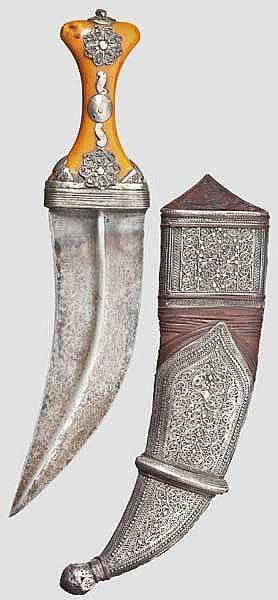 Silberfiligranverzierte Djambia, Saudi-Arabien, 1. Hälfte 20. Jhdt.