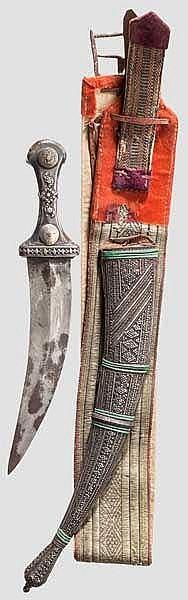 Silbermontierte Djambia mit Gürtel, Saudi-Arabien, 1. Hälfte 20. Jhdt.
