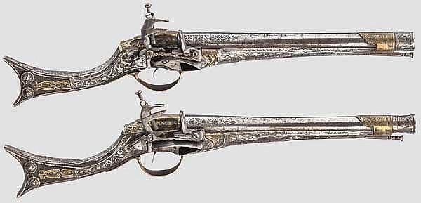 Ein Paar Ganzmetall-Miqueletpistolen, balkantürkisch, 19. Jhdt.