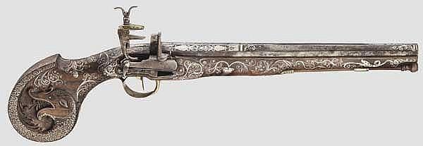 Silbereingelegte Miqueletpistole, balkantürkisch, 20. Jhdt. unter Verwendung alter Teile