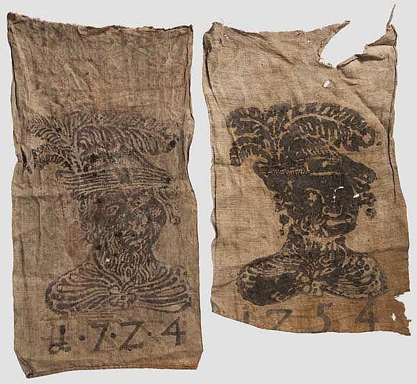 Zwei Jagdlappen, deutsch, datiert 1724 und 1754