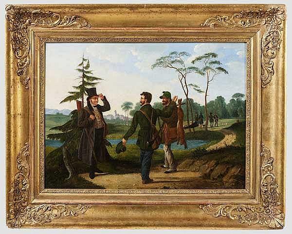 Ölgemälde Jagdgesellschaft in den bayerischen Voralpen, um 1840