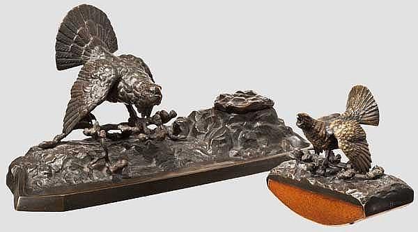 Jagdliche Schreibtischgarnitur, deutsch um 1880