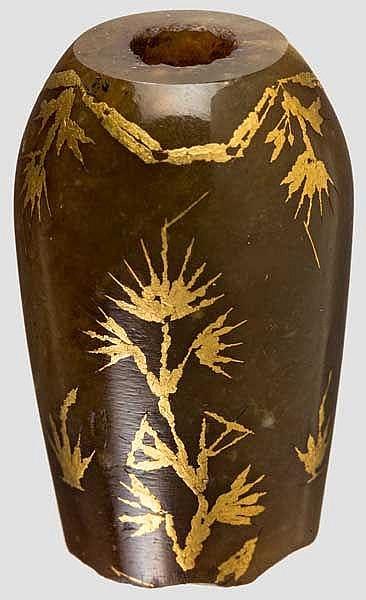 Goldeingelegtes Achat-Mundstück einer Wasserpfeife, osmanisch, 19. Jhdt.