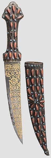 Goldtauschierte und korallenbesetzte Djambia, osmanisch um 1860