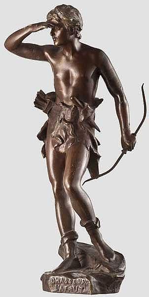 Bronzefigur eines Jägers, Frankreich um 1900