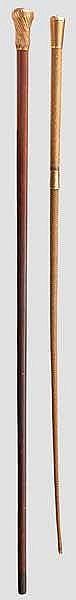 Baron Gabriel Benoist-Méchin - goldmontierter Gehstock und Reitgerte, Frankreich, datiert 1876 und 1885