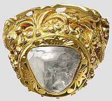 Goldring mit Diamanttafel, Indien, 20. Jhdt.
