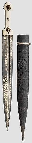 Goldtauschierter Kinzal, Persien, 19. Jhdt.