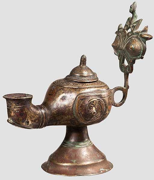 Bronze-Öllampe, Zentralasien, 12./13. Jhdt.