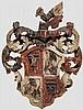 Farbig gefasster Wappenschild, deutsch, 17. Jhdt.