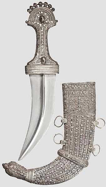 Silbermontierte Djambia, Jemen, Jizan, 1. Hälfte 20. Jhdt.