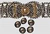 Filigraner Silbergürtel und fünf Knöpfe, osmanisch/kaukasisch um 1900