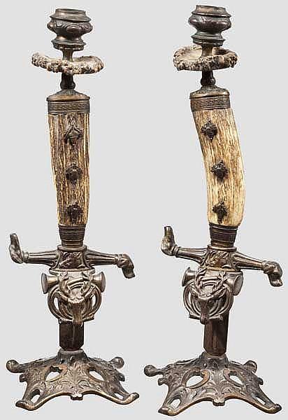 Ein Paar jagdliche Kerzenleuchter, deutsch um 1900