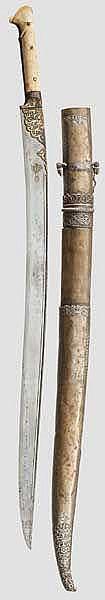 Silbermontierter Yatagan, osmanisch um 1800