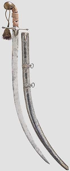 Silbermontierter Shamshir, osmanisch, 1. Viertel 19. Jhdt.