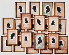 21 Portraits in Biedermeierrahmen