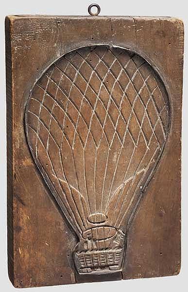 Backmodel aus Holz mit Ballonmotiv, süddeutsch, 1. Hälfte 19. Jhdt.