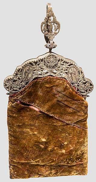 Silbermontierte Gürteltasche, deutsch oder französisch um 1820/30