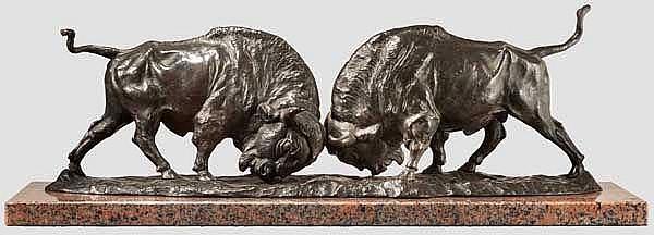Franz Iffland (Berlin, 1862 - 1935) - kämpfende Bisons, um 1900