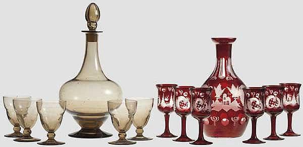 Zwei gläserne Likörservice, Böhmen und Nancy um 1900