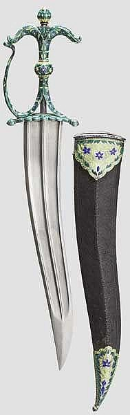 An Indian silver, enamelled chilanum, 20th century