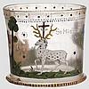 Jagdlicher Glashumpen mit Emailledekor, Böhmen, datiert 1694