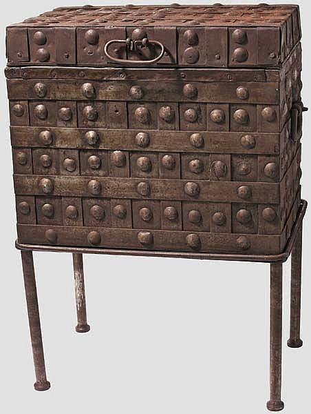 An iron war chest, probably Italian or Spanish, 18th century
