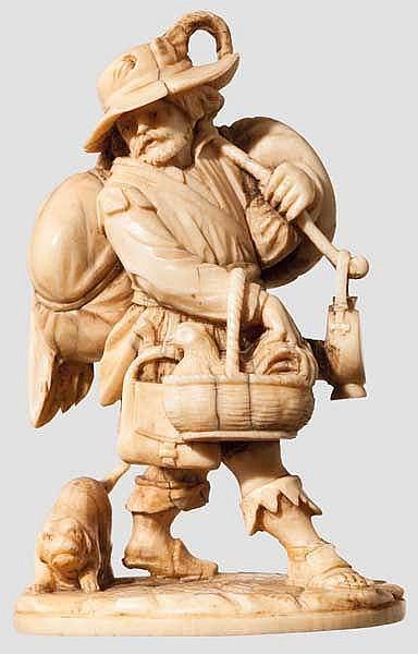 Elfenbeinfigur Marketender, flämisch um 1700